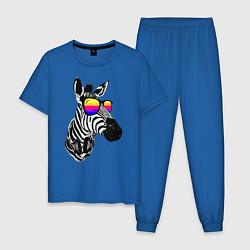 Пижама хлопковая мужская Зебра цвета синий — фото 1