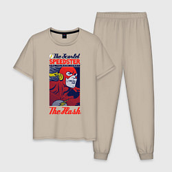 Пижама хлопковая мужская The Flash цвета миндальный — фото 1