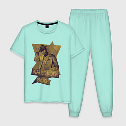 Пижама хлопковая мужская Ананси Американские Боги цвета мятный — фото 1