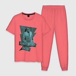 Пижама хлопковая мужская Мистер Среда Американские Боги цвета коралловый — фото 1