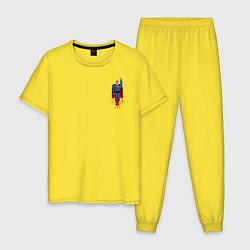 Пижама хлопковая мужская Superman 8 bit цвета желтый — фото 1