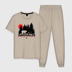 Пижама хлопковая мужская Sakhalin forever цвета миндальный — фото 1