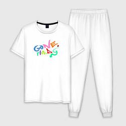 Пижама хлопковая мужская Gone Fludd цвета белый — фото 1