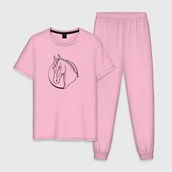 Пижама хлопковая мужская Лошадь - линейный рисунок цвета светло-розовый — фото 1