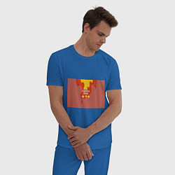 Пижама хлопковая мужская Slava Marlow ТыГоришьКак огонь цвета синий — фото 2