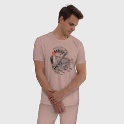 Пижама хлопковая мужская Sons of Anarchy цвета пыльно-розовый — фото 2