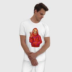Пижама хлопковая мужская Арт пакман цвета белый — фото 2