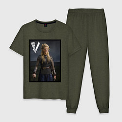Пижама хлопковая мужская Викинги Лагерта Vikings Lagertha Z цвета меланж-хаки — фото 1