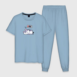 Пижама хлопковая мужская Хомячок цвета мягкое небо — фото 1