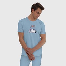 Пижама хлопковая мужская Хомячок цвета мягкое небо — фото 2