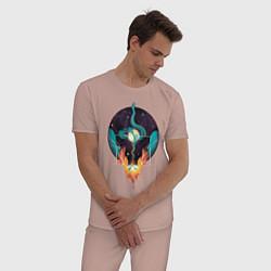 Пижама хлопковая мужская Концепт Жизни - Огонь и Вода цвета пыльно-розовый — фото 2