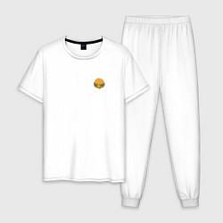 Пижама хлопковая мужская Бургер цвета белый — фото 1