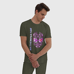 Пижама хлопковая мужская Матеминатор цвета меланж-хаки — фото 2