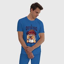 Пижама хлопковая мужская Я фотограф - с фотоаппаратом цвета синий — фото 2