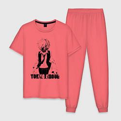 Пижама хлопковая мужская Токийский гуль Канеки Кен цвета коралловый — фото 1