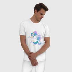 Пижама хлопковая мужская Принцесса Целестия цвета белый — фото 2