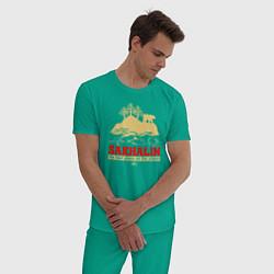Пижама хлопковая мужская Сахалин - лучшее место планеты цвета зеленый — фото 2