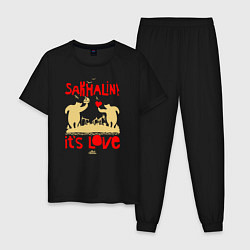 Пижама хлопковая мужская Сахалин - это любовь цвета черный — фото 1