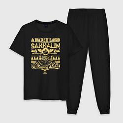Пижама хлопковая мужская Суровый край - Сахалин цвета черный — фото 1