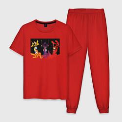 Пижама хлопковая мужская Evangelion цвета красный — фото 1