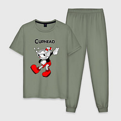 Пижама хлопковая мужская CupheadКапхед цвета авокадо — фото 1