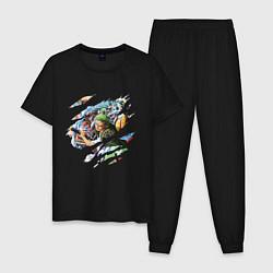 Пижама хлопковая мужская ONE PIECE ВАН ПИС цвета черный — фото 1