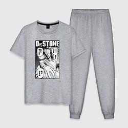 Пижама хлопковая мужская Dr Stone цвета меланж — фото 1