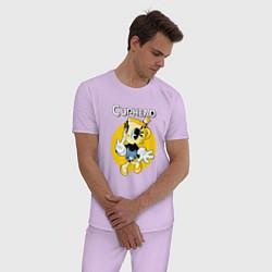 Пижама хлопковая мужская Chalice caphead цвета лаванда — фото 2