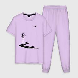 Пижама хлопковая мужская Одиночество длинной дистанции цвета лаванда — фото 1