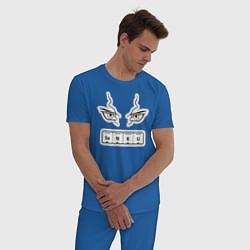 Пижама хлопковая мужская Сенку Доктор Стоун Химия цвета синий — фото 2