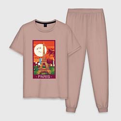 Пижама хлопковая мужская Париж цвета пыльно-розовый — фото 1