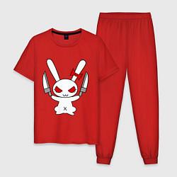 Пижама хлопковая мужская Зайка с ножами цвета красный — фото 1