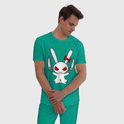 Пижама хлопковая мужская Зайка с ножами цвета зеленый — фото 2