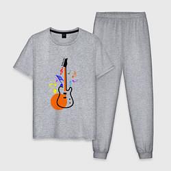 Пижама хлопковая мужская Цветная гитара цвета меланж — фото 1
