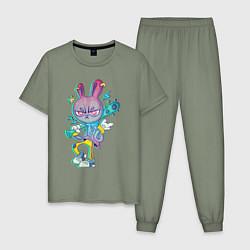 Пижама хлопковая мужская Заяц на разборках цвета авокадо — фото 1