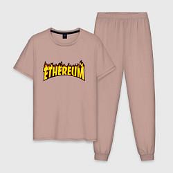 Пижама хлопковая мужская ETHEREUM x THRASHER цвета пыльно-розовый — фото 1