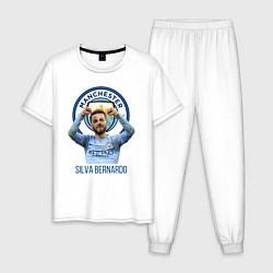 Пижама хлопковая мужская Silva Bernardo Манчестер Сити цвета белый — фото 1