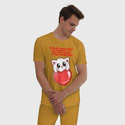 Пижама хлопковая мужская КОТИК ЛЮБОВЬ РАЙ CAT LOVE PARADISE Z цвета горчичный — фото 2