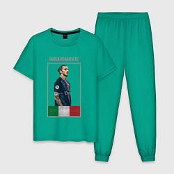Пижама хлопковая мужская Златан Ибрагимович Милан цвета зеленый — фото 1