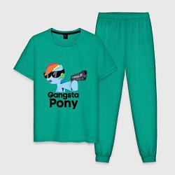 Пижама хлопковая мужская Gangsta pony цвета зеленый — фото 1