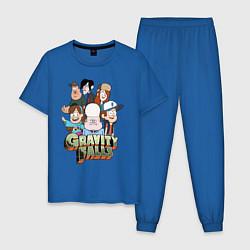 Пижама хлопковая мужская Привет из Гравити Фолз цвета синий — фото 1