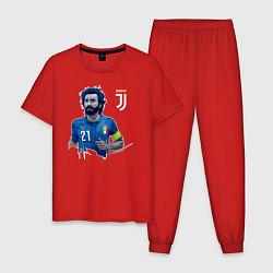 Пижама хлопковая мужская Andrea Pirlo цвета красный — фото 1