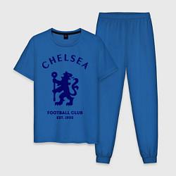 Пижама хлопковая мужская Chelsea Est. 1905 цвета синий — фото 1