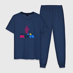 Пижама хлопковая мужская Run Сolor цвета тёмно-синий — фото 1