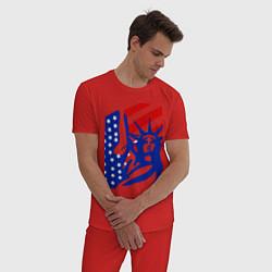 Пижама хлопковая мужская Свобода цвета красный — фото 2