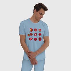 Пижама хлопковая мужская Lips цвета мягкое небо — фото 2