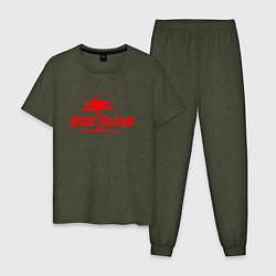 Пижама хлопковая мужская Dead island цвета меланж-хаки — фото 1