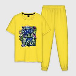 Пижама хлопковая мужская Воин Ацтек - Aztec Warrior цвета желтый — фото 1