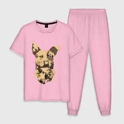 Пижама хлопковая мужская FC5: Бумер цвета светло-розовый — фото 1