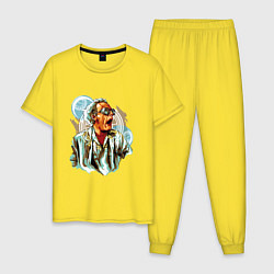 Пижама хлопковая мужская Dr Brown цвета желтый — фото 1